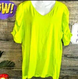 INC Top Size 1X High Low Ruched Sleeve